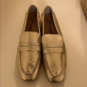 Free people gold leather Essex loafer